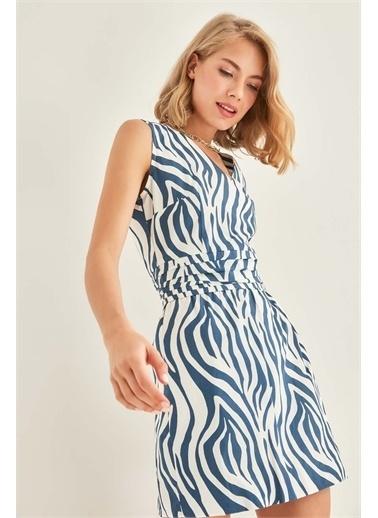 Vitrin VİTRİN Zebra Desenli V Yaka Elbise Lacivert